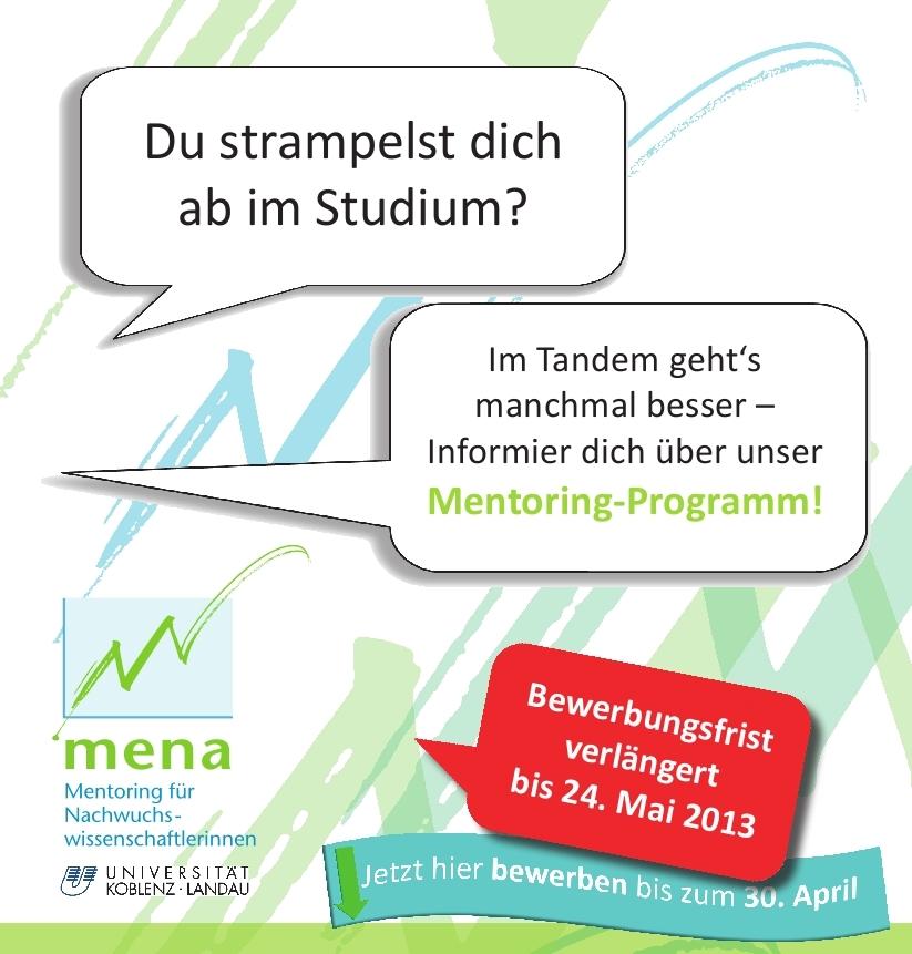 Im Tandem durchs Studium mit mena: Noch bis zum 24. Mai können sich Nachwuchswissenschaftlerinnen für das Mentoring-Programm bewerben.