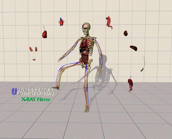 Ein tanzendes Skelett im Spiegel: Dieses interaktive Projekt präsentiert der CV-Tag neben vielen anderen spannenden und außergewöhnlichen Arbeiten der Koblenzer Studierenden.