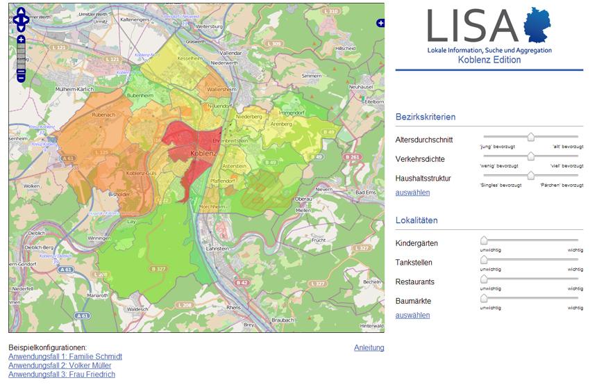 eLisa hilft dabei, den Lebensraum in einer Stadt, wie beispielsweise in Koblenz, zu erkunden.