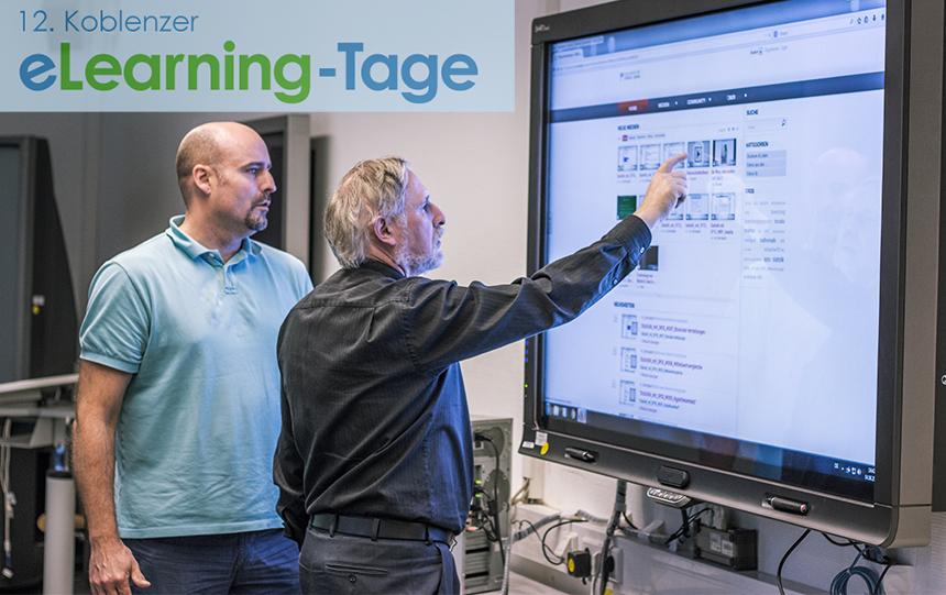Dr. Peter Ferdinand und Dr. Ingo Dahn vom Institut für Wissensmedien (IWM) demonstrieren die Lernplattform der Videoakademie. Foto: Müller