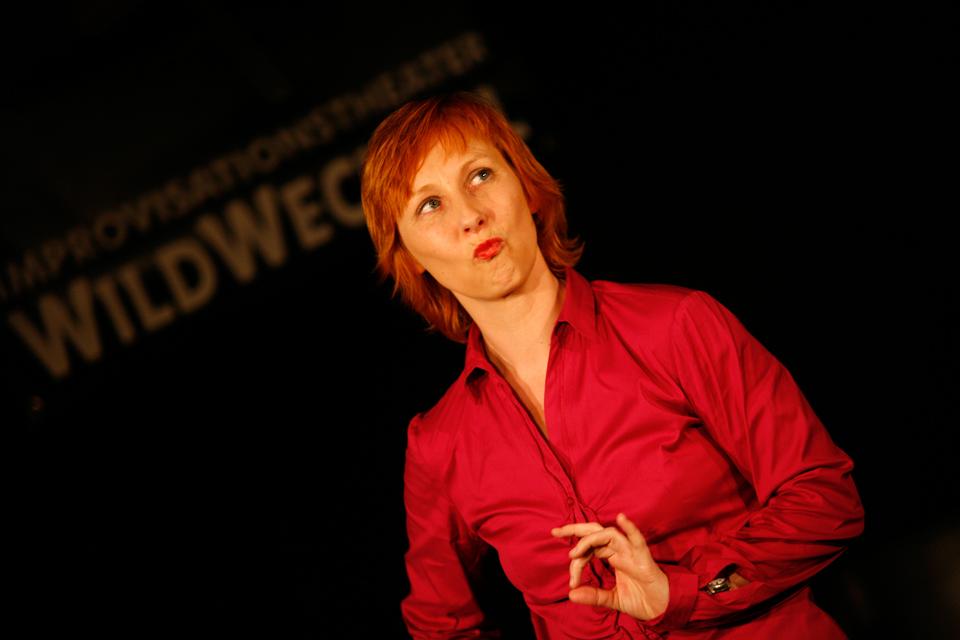 Kathleen Starck zu Gast beim Improvisationstheater WildWechsel in Stuttgart. Foto: Gregor Kern