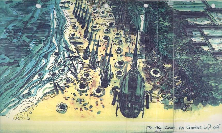 """Dean Tavoularis war Szenenbildner für den Film """"Apokalypse Now"""". Diese Storyboardzeichnung zum Film von 1979 ist Teil der Ausstellung in der Pfalzgalerie Kaiserslautern. © American Zoetrope Films, San Francisco"""