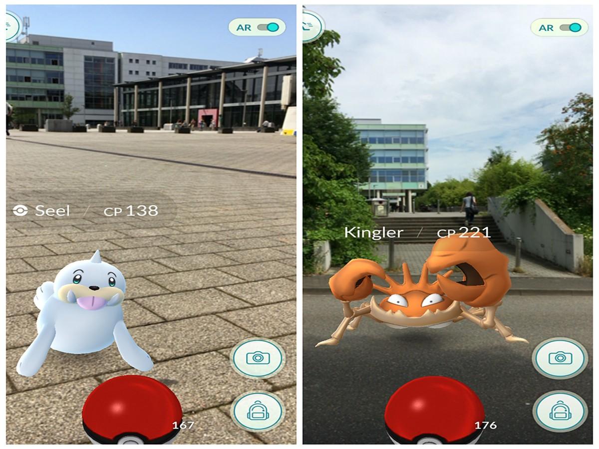 Pokémon Go: Auch an der Universität tummeln sich die frechen Monster.Fotos: Adrian Müller