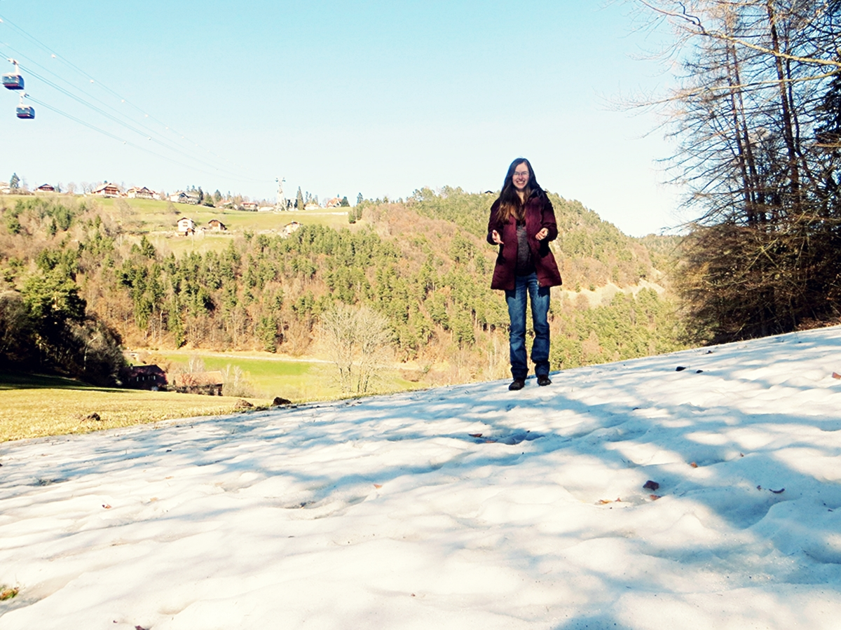 Linda Koch hat auch den Schnee in Brixen genossen, der langsam dem Frühling weichen musste. Foto: Privat