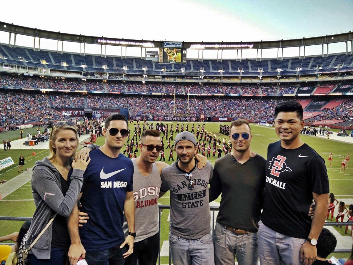 Sport wird an amerikanischen Unis groß geschrieben. Solonik besuchte mit Freunden Football-Spiele...