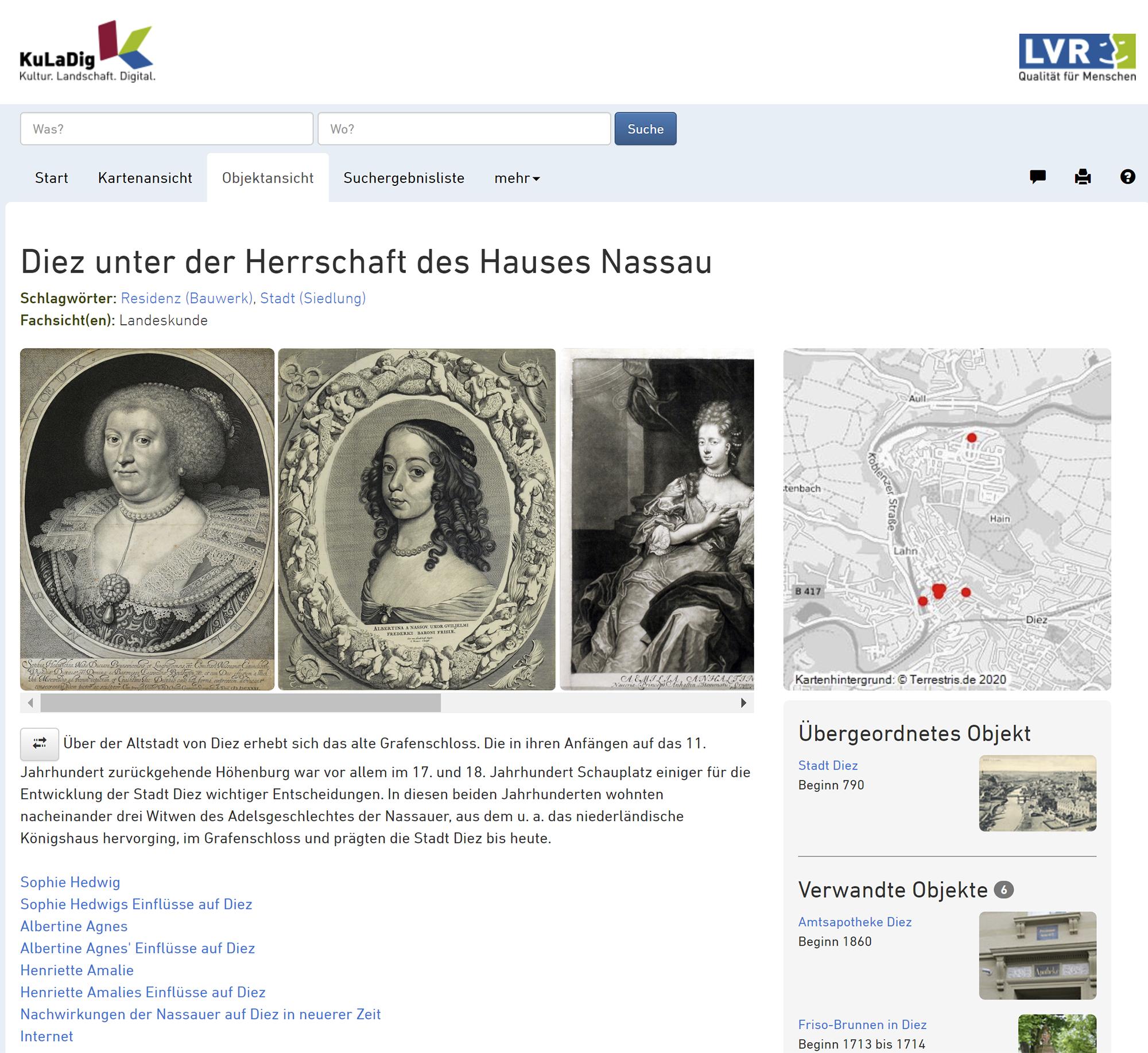 """Abb 5: In Diez an der Lahn erstellten die Studierenden ihre Beiträge zu Rahmenthema """"Herrschaft des Hauses Nassau"""". Foto: Screenshot"""