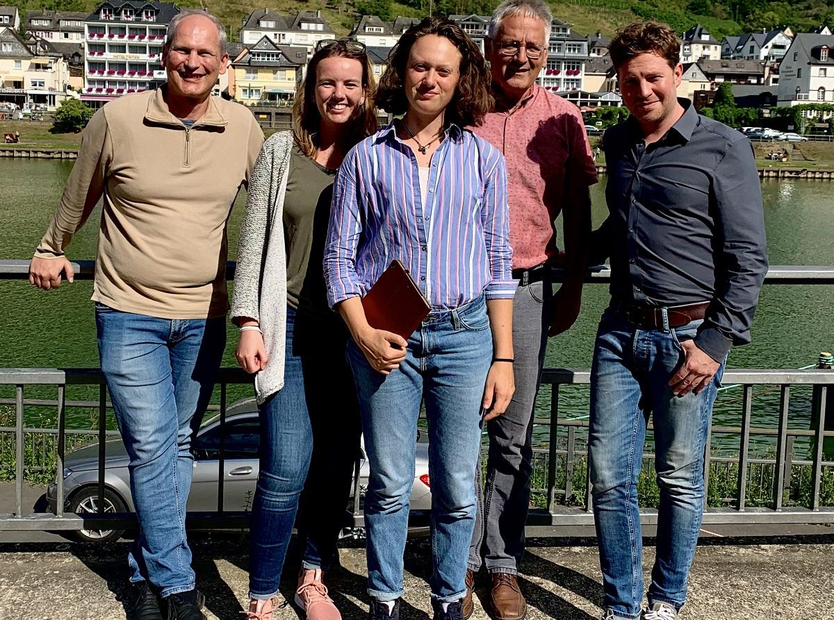 Das Projektteam vom KuLaDig-RLP beim Projektreffen in Cochem: (v.l.) Michael Klemm, Sarah Krieger, Lisa-Marie Lösch, Matthias Dreyer und Florian Weber. Es fehlt Larissa Ragg. Foto: privat